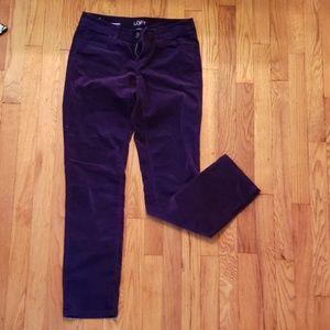 Purple Velvet Loft Skinny Trousers